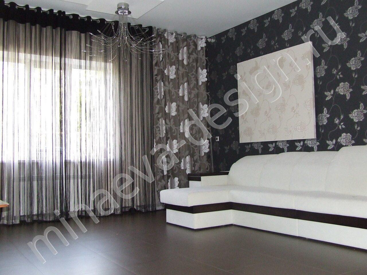 шторы в черно белом стиле фото